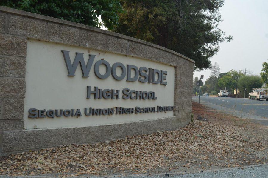 Woodside High School's sign in front of the school