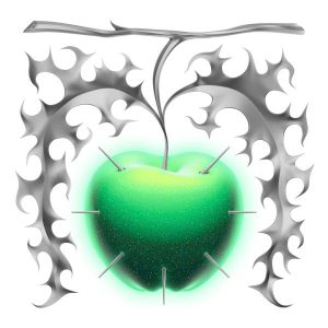 "The cover art and title for ""Apple"" are inspired by the ways simple concepts and designs can carry several different connotations."