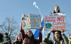Teenagers protest in a climate stirke asking voters to think about the climate.