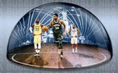 Graphic of Giannis Antetokounmpo, LeBron James, and Chris Paul in a Disney land Bubble