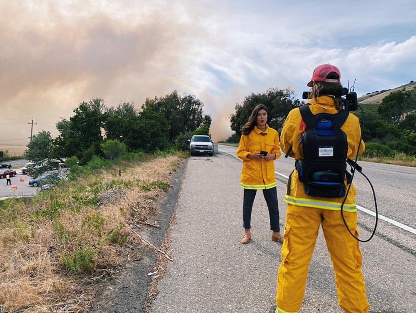 Megan Healy covers the Avila Fire off Highway 101 in June of 2020.
