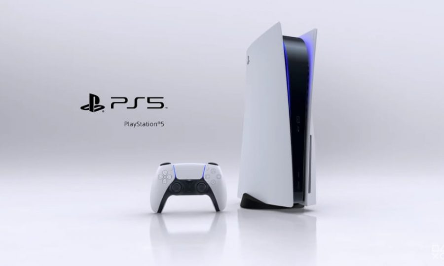 Pictured+above+is+the+new+PlayStation+Five+%28PS5%29%2C+along+with+its+new+controller.