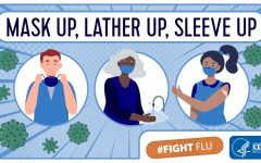 The image shows that you should wear your mask, wash your hands, and get your flu shot.