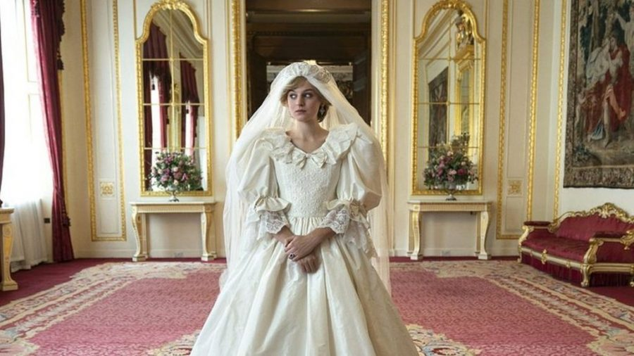 Emma Corrin as Diana, Princess of Wales in a recreation of her iconic wedding gown