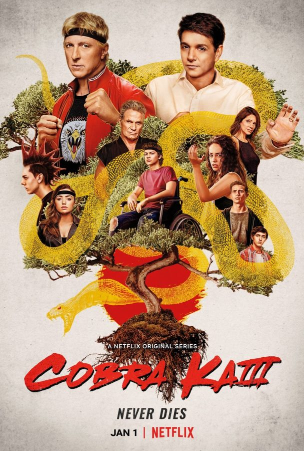 The official season three poster of Netflix's Cobra Kai, featuring the main cast of season three.