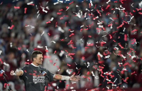 Buccaneers quarterback Tom Brady celebrates his seventh Super Bowl win.