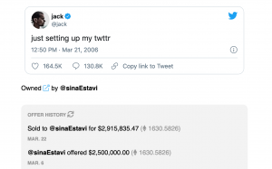 On March 22, Jack Dorsey sold his first ever tweet for almost three million dollars.
