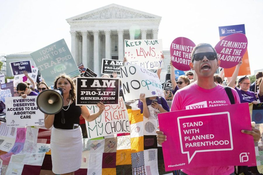 Protesters on both sides of the abortion debate rally outside the U.S. Supreme Court in 2016