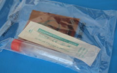 A packaged COVID test sits ready for use on Thursday, October 7th, 2021. Woodsides COVID test site mis using the PCR method to scan for the Coronavirus, which is often considered the Gold Standard of tests